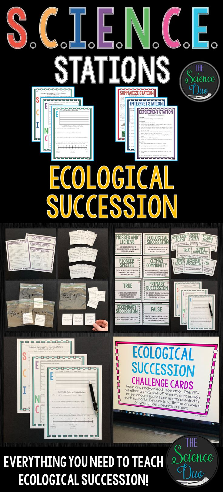 This Ecological Succession S.C.I.E.N.C.E. Station activity includes activities covering the stages of primary and secondary succession. This lab is designed to get your students engaged, collaborating, and moving in your daily lesson.