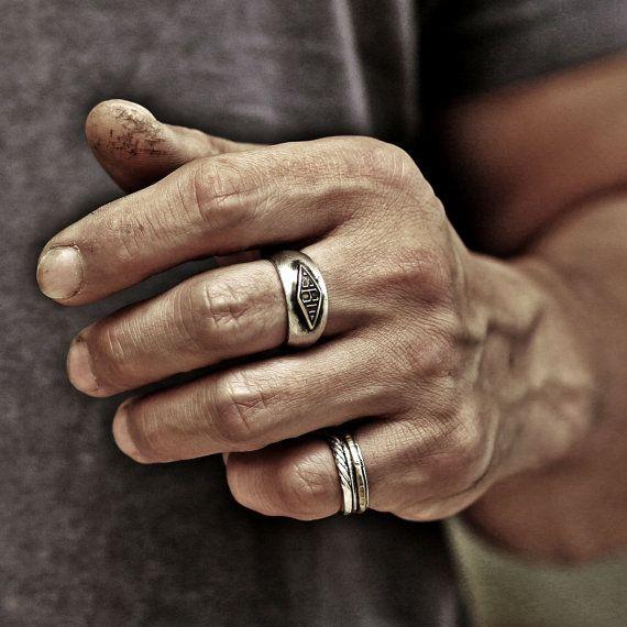 monogram ring word ring initial ring name ring mens by StudioS71