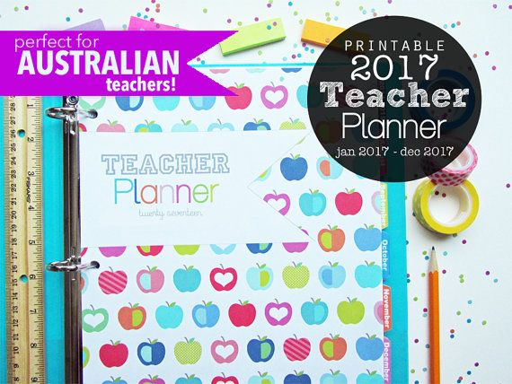 The Teacher Planner has been updated for the 2017 school year for our customers in Australia (and anyone else whos school year begins in January!) (Link for 2016-2017 school year below!) Lesson Plans, Class Roster, Seating Chart, Grade Tracker, 2016 Calendar and so much more!  I wanted to create a planner with all the teaching essentials in a colorful, fun design and I think Ive done it-- This planner features an original, multicolor apple design, light and dark cover options, divider tabs…