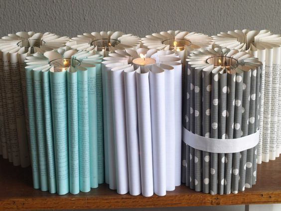Folded Book Candles with coloured or patterned option