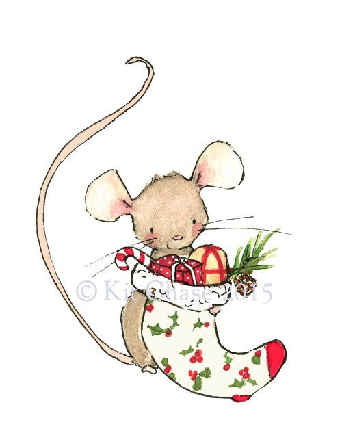 A merry mouse and its stocking brimming with a little yuletide cheer. It is a merry day indeed. - art print from an original watercolor, gouache, and acrylic painting by Kit Chase. - archival matte pa