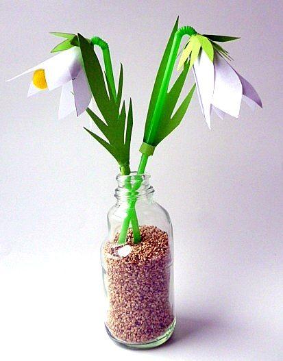 Schneeglöckchen aus Papier - Pflanzen Basteln - Meine Enkel und ich - Made with schwedesign.de