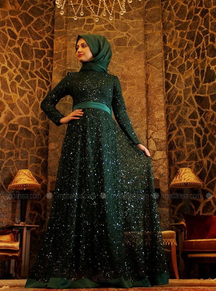 BEYZA فستان سهرة - الأخضر - فساتين سهرة إسلامية - Modanisa