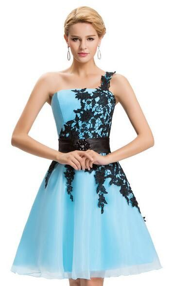 Grace Karin Sexy One Shoulder Lace Short Prom Dress 2016 Robe De Cockail Organza Evening Gowns Vestidos Knee Length Prom Dresses