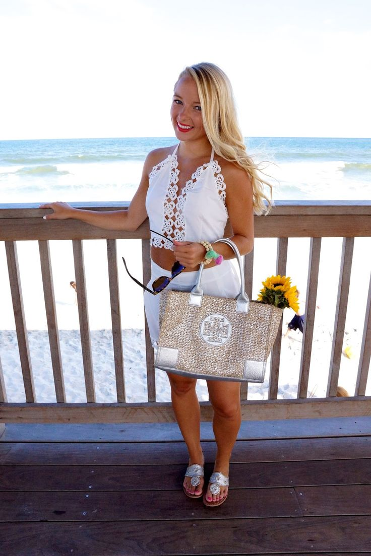 Outfit details: top and bottoms: SheInside c/o // bag: Tory Burch {similar below} // shoes: Jack Rogers // bracelets: Fancy Freebirds c/o // sunglasses: Ray Ban Let's talk about all of few of my (many) favorite things about summer; sand covered boardwalks, windswept hair, worn-in Jacks, the sunniest sunflowers, and white crochet two piece outfits. Today's post...