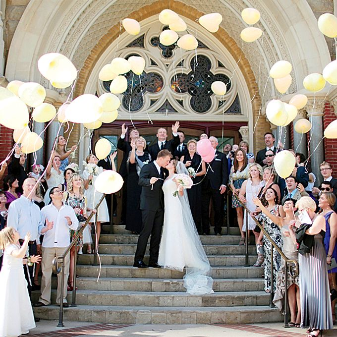 Brides.com: 7 Ways to Make a Memorable Exit. Balloons. If you're having a spring or summer ceremony in a church, provide guests with balloons to release for a truly uplifting moment.  Browse more traditional real weddings.