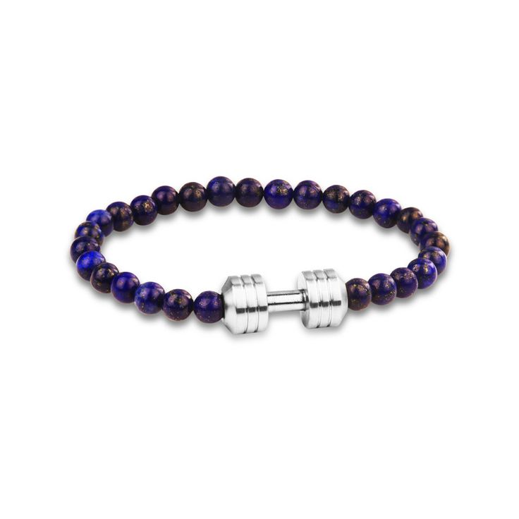 This cheap dumbbell charm bracelet wholesale is a beautiful stretchable bracelet which features 6mm lodestone Beads, and Stainless steel Dumbbell fitness Fashion all woven into durable elastic band, which fits all men & women.Flexible band for maximum comfort  This fitness jewelry purpose is to keep you motivated on your personal fitness journey. Wear your dumbbell