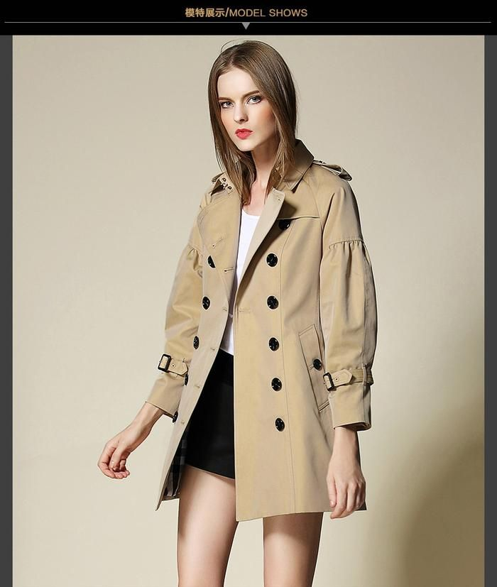07c8832347 turn-down collar Double breasted medium-long women trenchcoat silhouette  coat outer wear ragalan sleeve