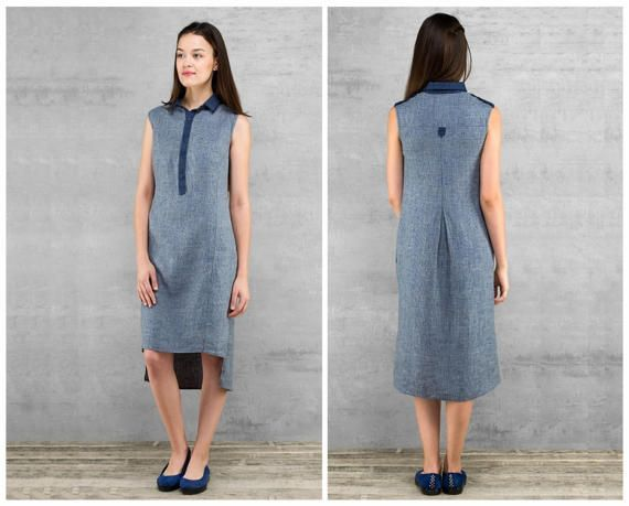 100% Linen Dress * Flax Linen Sleeveless Summer Dress for Woman * Midi, Knee-length, buttons, pockets * In Wine Red and Dark Blue * Linen Clothes  This gorgeous sleevless knee-length summer dress is made of highest qualit 100% linen fabric. The dress is decorated with eye-catching details: a collar with pointy edges, row front buttons, stripes on the shoulders and stripe clipped with a button at the back. The dress is slightly fitted with convenient side seam hidden pockets. The front part…