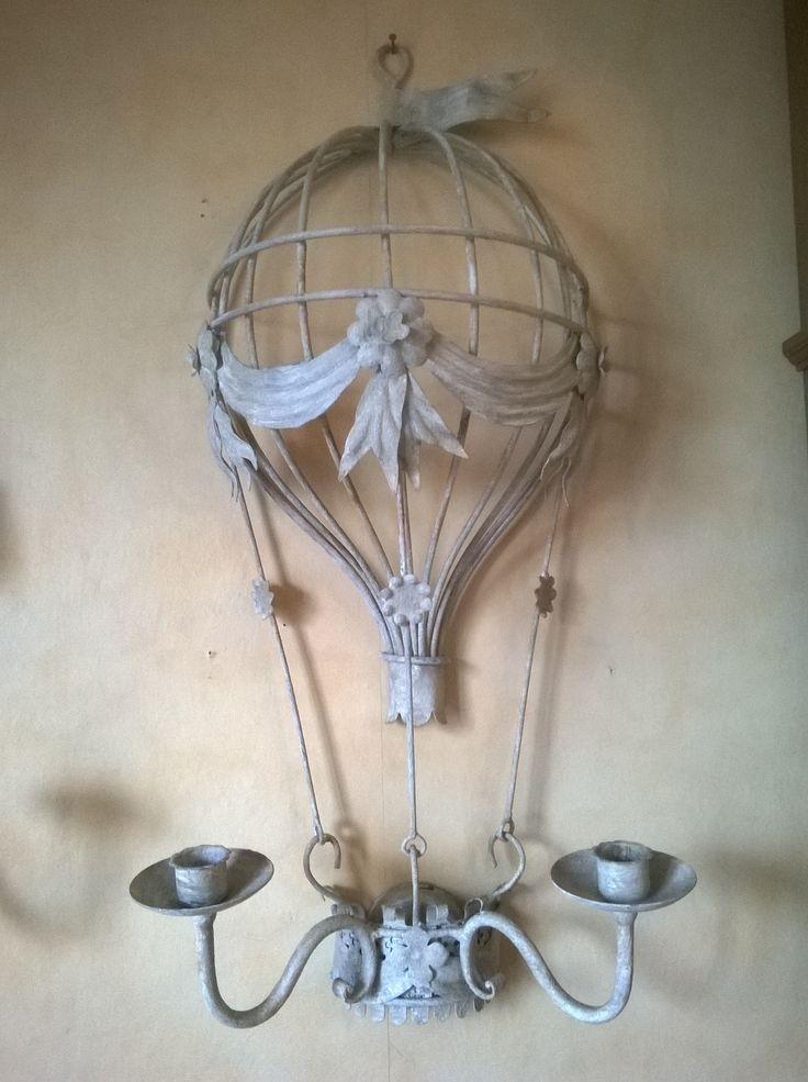 mongolfiera in ferro battuto a mano a 2 candele da appendere decorata shabby