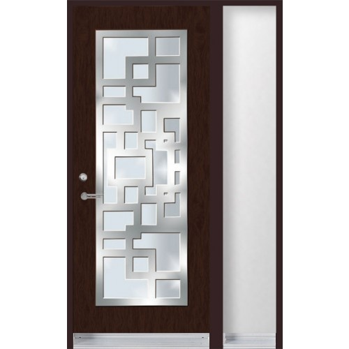 Single Entry Door With Stainless Steel Frame On Top Of Glass Inserts And One
