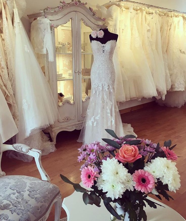 The wedding dress company bridal wedding dress boutique shop in Corbridge, Northumberland north east England. Shabby chic French style decor