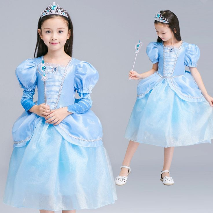 18.68$  Watch now - New Cinderella Princess Cross Dress Christmas Party Performance Girl Dress Knee Length Blue Kids Birthday Dress Clothes 4T  #bestbuy