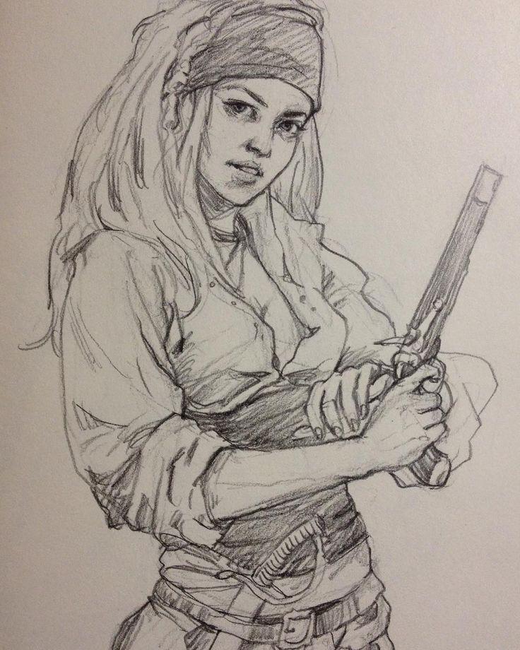 Female pirate drawing - photo#36
