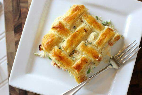 """CHICKEN POT PIE  Serves: 4-6   Ingredients: 4 tablespoons butter 1/4 cup onion, chopped 1/4 cup celery, chopped 1/4 cup carrot, chopped 1/4 teaspoon salt 2 tablespoons flour 2 cups milk 1/2 cup heavy cream 1 teaspoon """"Better Than Bullion"""" chicken base 2 cups chicken, cooked and chopped 1/2 cup frozen peas 1/2 teaspoon fresh thyme plus more for garnish if desired 1 sheet frozen puff pastry 1 egg, beaten slightly with a fork Make Heart Healthy Banana Bread   Directions: Allow puff pastry to…"""