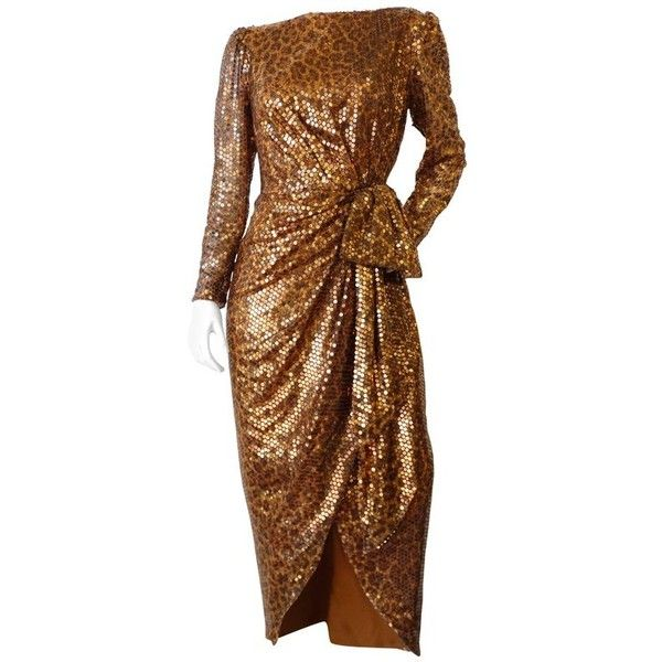 Preowned 1980s Saks Fifth Avenue Mignon Sequin Leopard Gown ($650) ❤ liked on Polyvore featuring dresses, gowns, brown, evening dresses, high low evening gowns, evening gowns, cocktail dresses and sexy sequin dresses