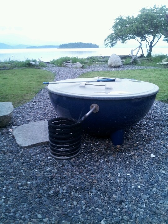Salt Water Hot Tub Heated With Firewood Guemes Island
