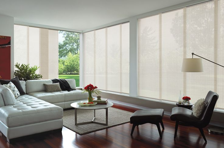 Save $179* on average on Luxaflex Panel Glides. Luxaflex Panel Glide blinds offer a contemporary take on traditional window fashions. Featuring sleek lines and minimalist design, Panel Glide blinds evoke understated elegance in any home.