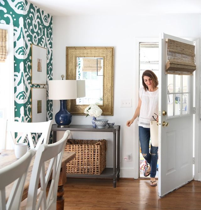 When You Need More Texture, Less Color (decorating with texture, bamboo shades, etc.) White and green kitchen, wallpaper, ikat, entryway