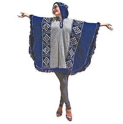 DARK BLUE LLAMA WOOL MENS WOMANS UNISEX PONCHO CAPE COAT JACKET CLOAK HANDWOVEN in Clothes, Shoes & Accessories, Men's Clothing, Coats & Jackets | eBay!