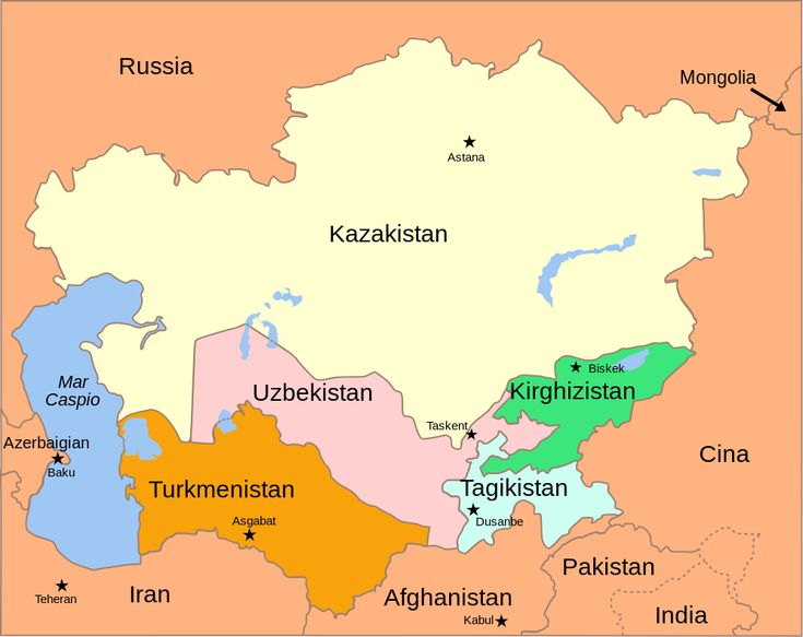 Central Asia - political map 2008 it - Asia centrale - Wikipedia