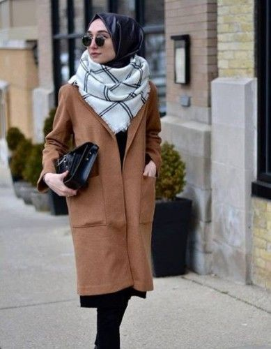 cognac coat hijab style, Hijab chic from the street http://www.justtrendygirls.com/hijab-chic-from-the-street/