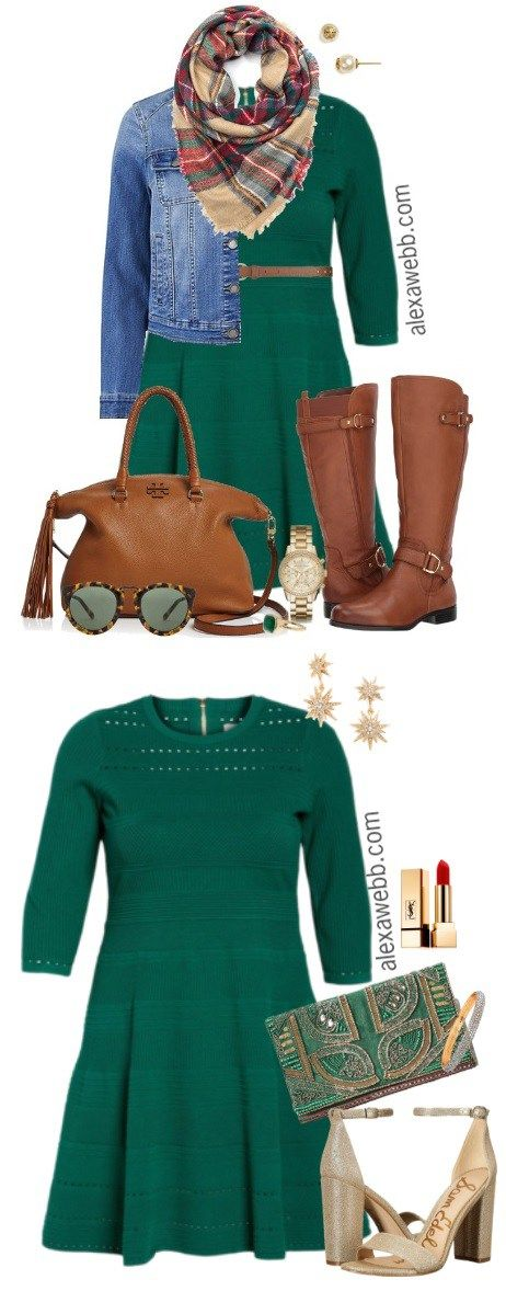 Plus Size Green Dress Outfits - Plus Size Casual Fall Outfit - Plus Size Fashion for Women - alexawebb.com #alexawebb #plussize #fall #outfit #dress
