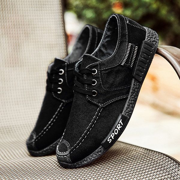 Men Old Beijing Style Canvas Breathable Lace Up Casual Shoes - NewChic