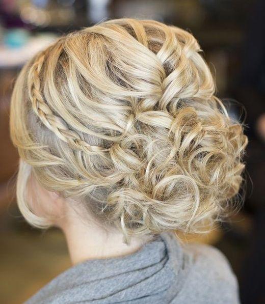 Bridal | Updo with Subtle Braid #curls #wedding #hair #ideas #pmtslombard #cute #paul #mitchell #schools