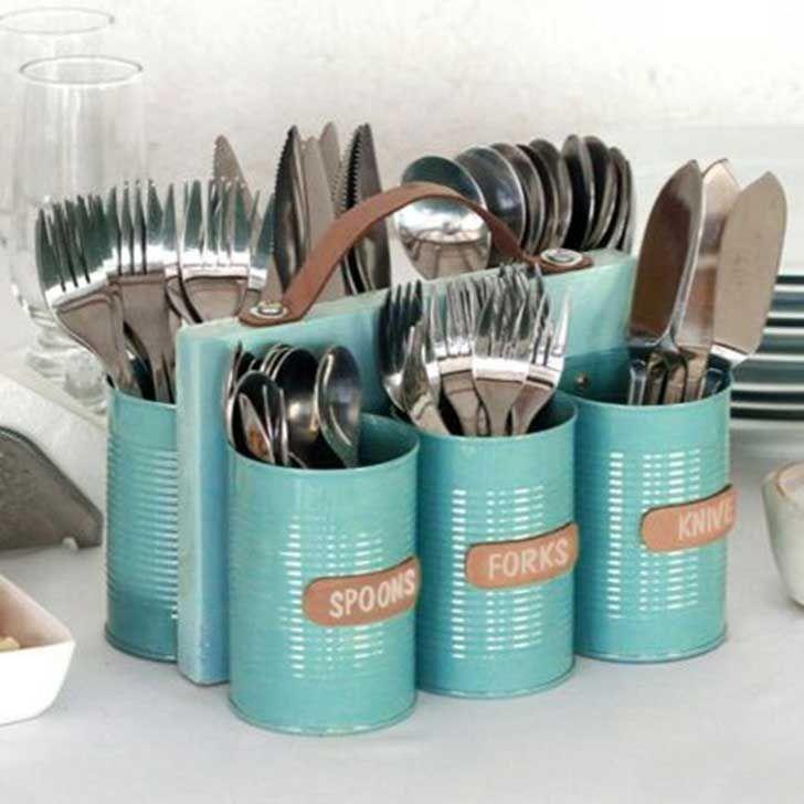 18 Creativas Formas Para Reutilizar Las Latas De Aluminio Organizador De Cubiertos Latas De Aluminio Latas De Conserva