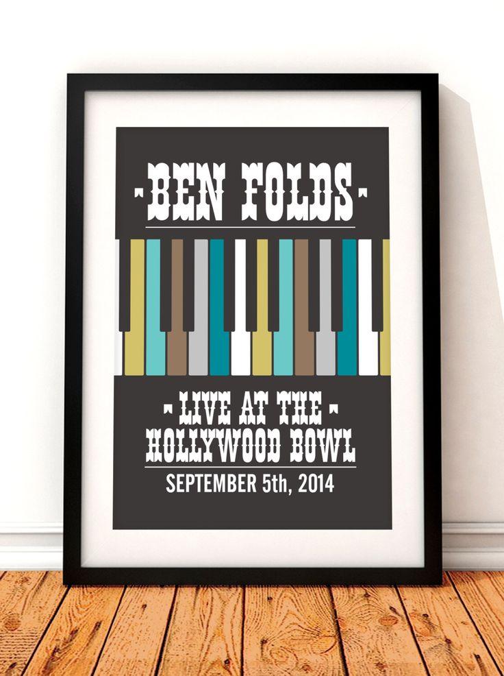 Ben Folds concert poster art, Ben Folds poster print, music inspired print, Ben Folds gig poster, Ben Folds, concert poster by TheIndoorType on Etsy https://www.etsy.com/listing/212538239/ben-folds-concert-poster-art-ben-folds