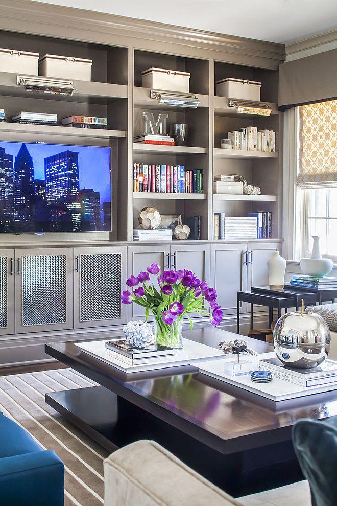 Purple Tulips - Floral Arrangement - Entertainment Center - Built-In Bookshelf - Home Organization - Interior Design