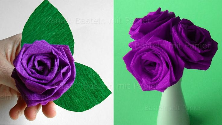 Origami Rose falten: Blumen basteln - Rosen aus Krepp-Papier falten - DI...