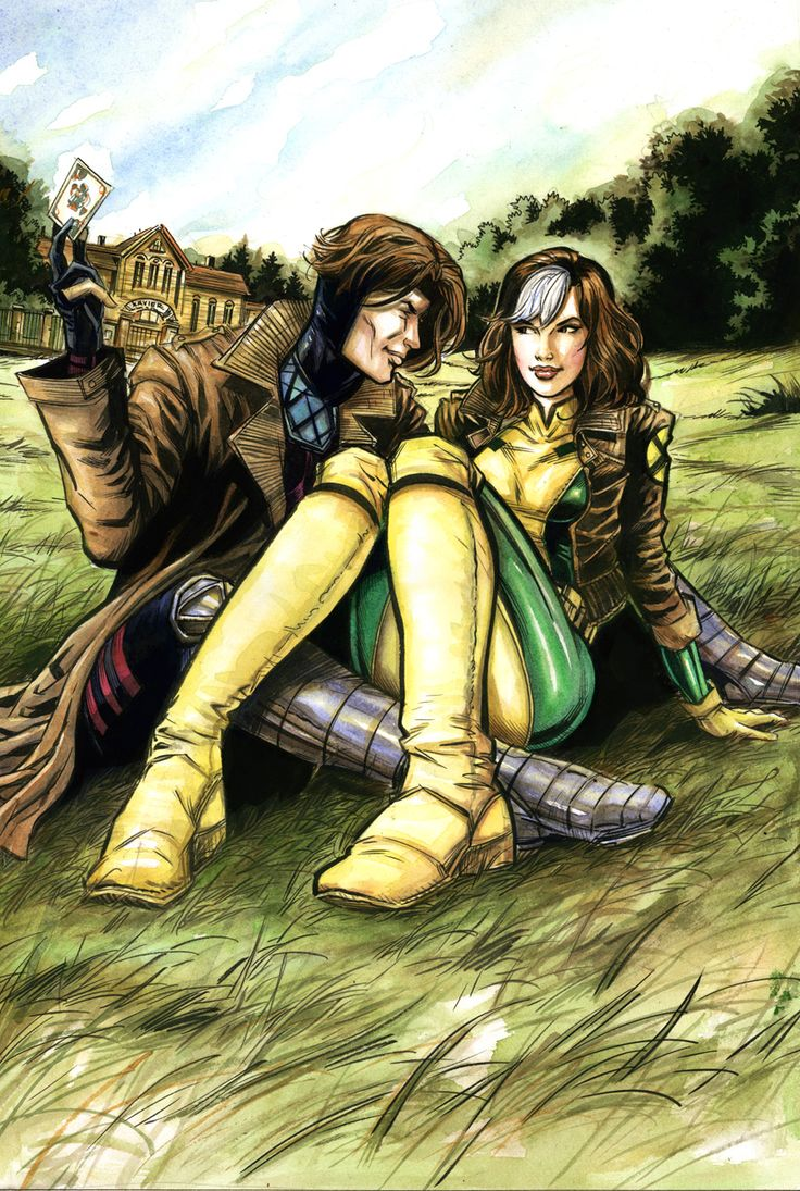 Rogue and Gambit. Art by Ryan Kelly.