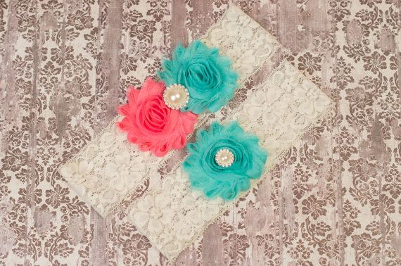 Aqua Coral wedding Coral Aqua Bridal Garter Set by GirliesGalore, $19.95