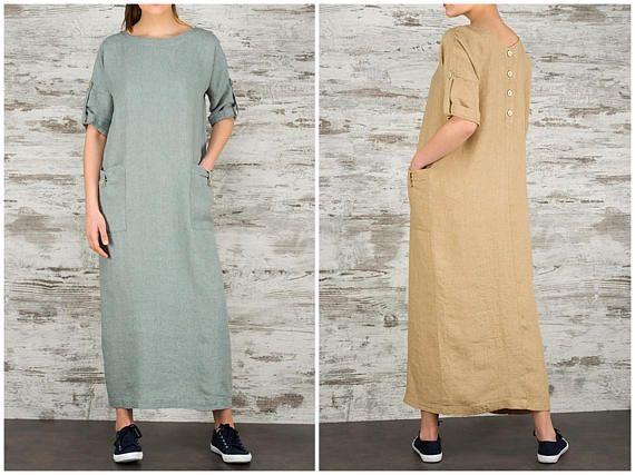 Linen Maxi Dresses for Women/ Long Linen Summer Dress/ Loose Fitting Linen Dress/ 100% Linen Women's Clothing/ Casual Dress with Pockets/ Grey Beige