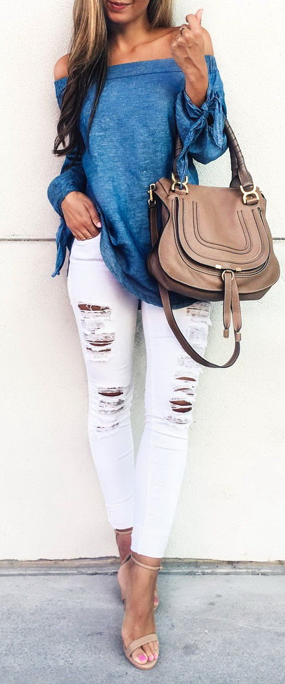 #spring #outfits Blue Off The Shoulder Top + White Ripped Skinny Jeans + Nude Sandals