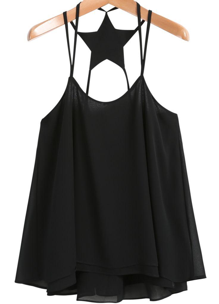 Black Spaghetti Strap Backless Chiffon Vest 14.50