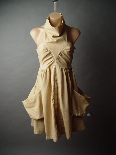 LINEN-COTTON Avant Garde Desert Draped Halter Dress L #Other #Casual