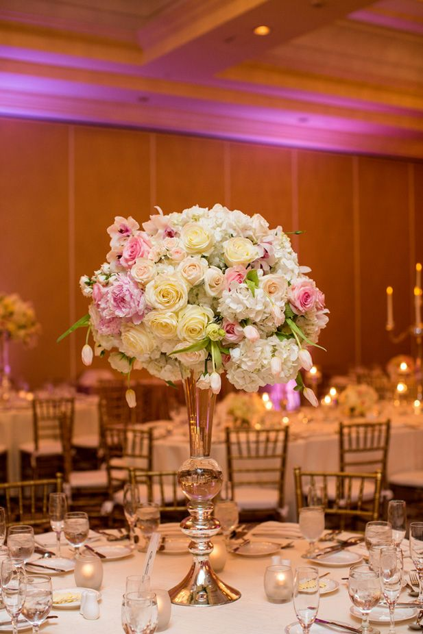 Tall white and pink wedding centerpiece ideas with roses and hydrangea (Kevin Le Vu Photography)