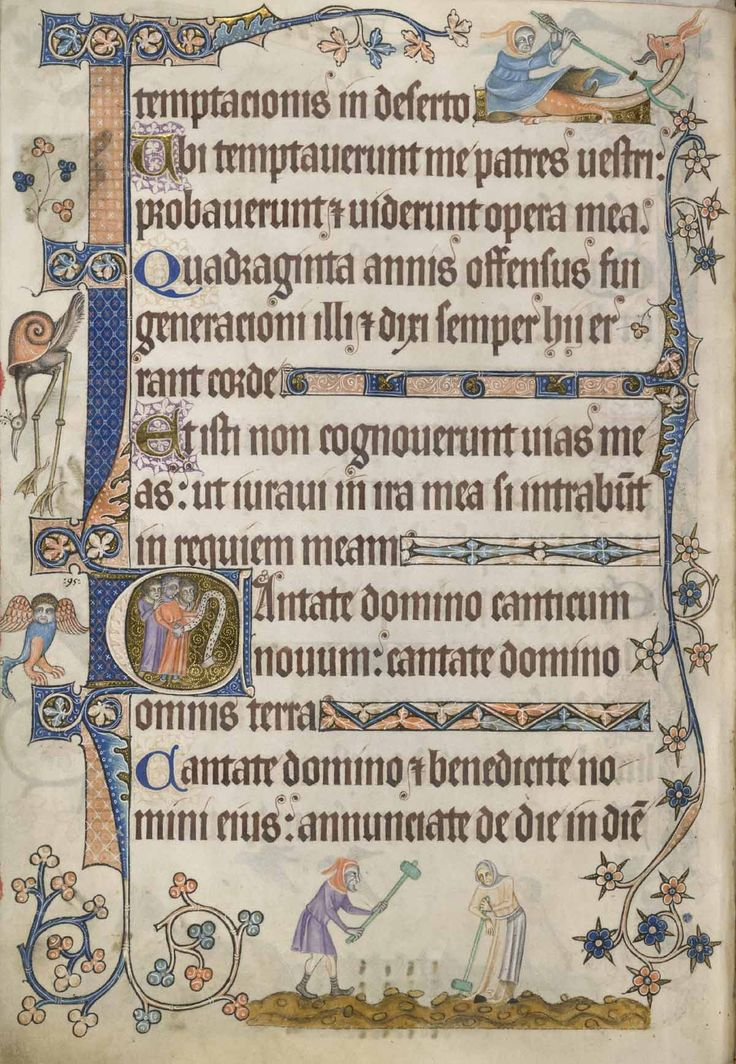 A page from the Luttrell Psalter  showing the beginning of Psalm 97 'Cantate Domino' ('O sing unto the Lord a new song'). At the bottom of the page two peasants, perhaps a husband and wife agricultural team, are shown breaking up clods of earth with mallets.