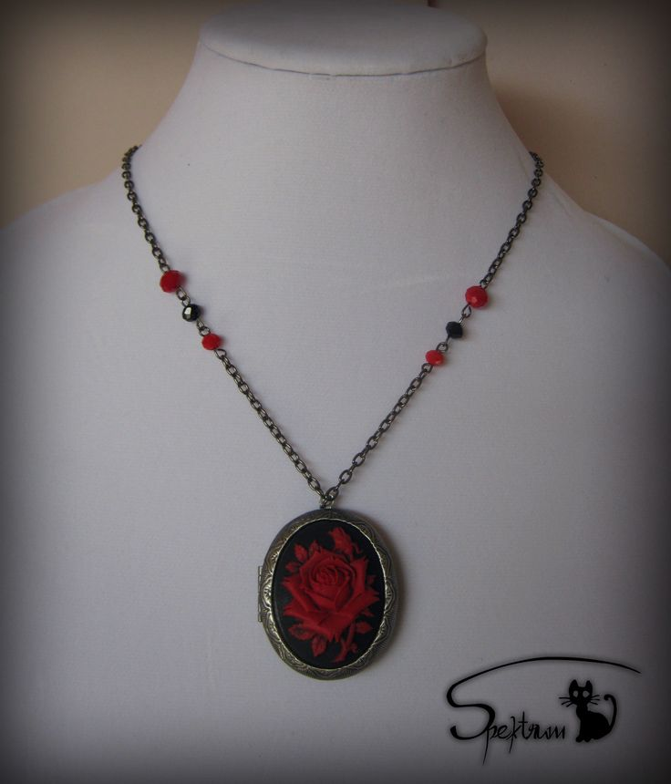 Locket with red rose cameo