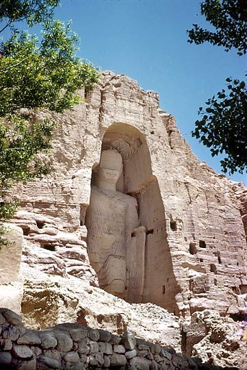 Spread of Buddhism - large Buddha statues in Western Asia built 4th or 5th century ad along silk road; was once accompanied by a monastery