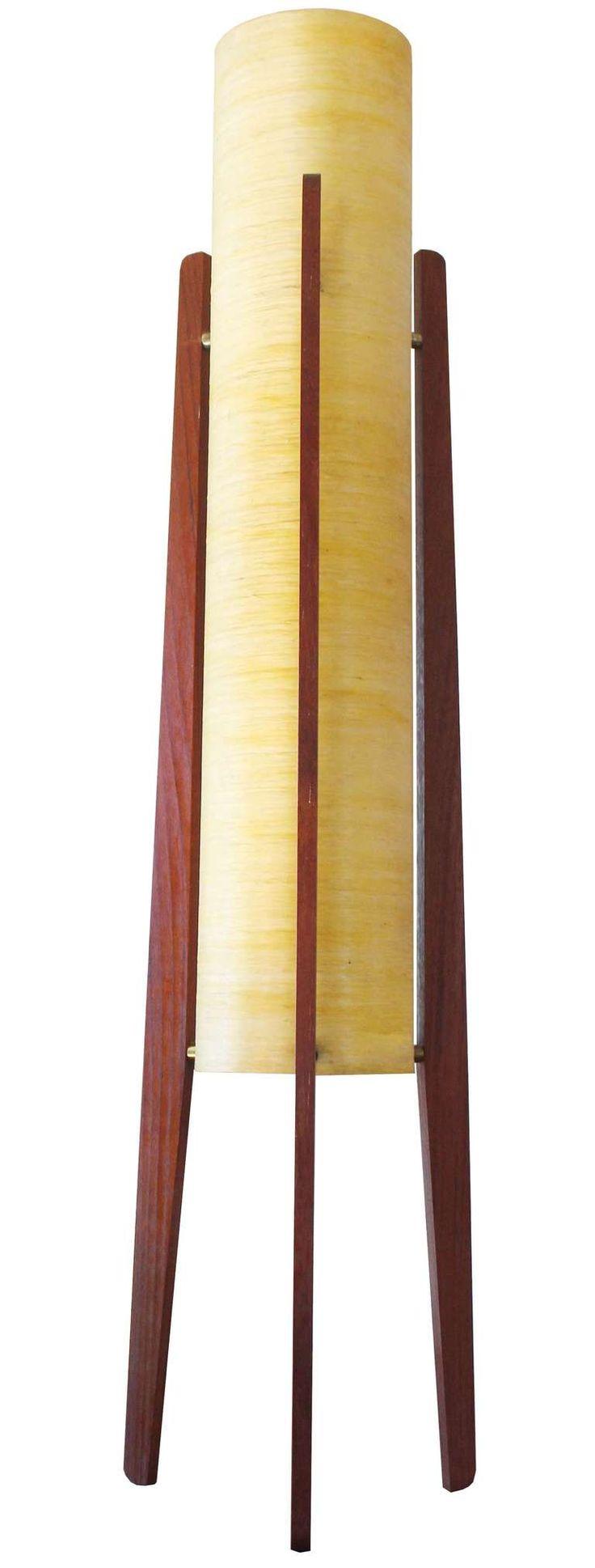 Antique wooden table lamps - Danish Rocket Lamp
