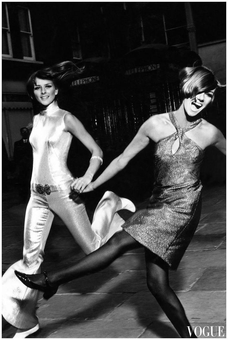 1965 Metallic Fashion Featured In Vogue 60s Dress Halter