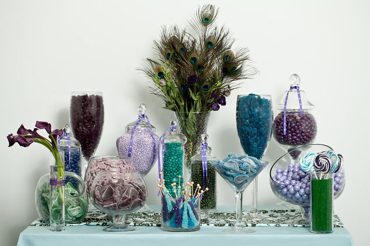 Peacock candy buffet, starring Nuts.com candy.#nutsdotcom #wedding