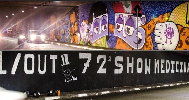 Painel de grafite é coberto com divulgação de festa da Medicina da USP