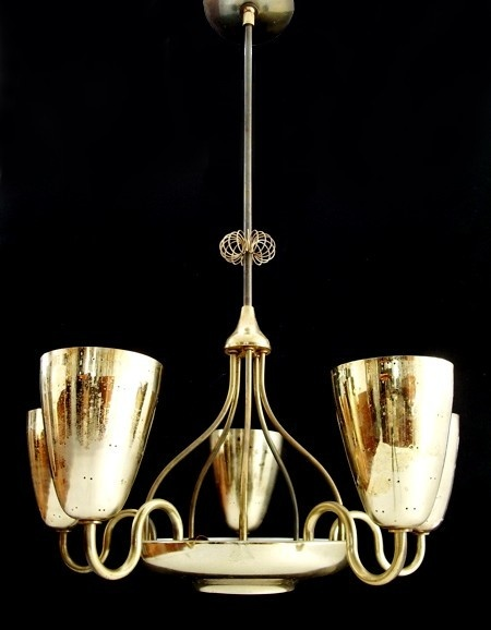 5-ARM CHANDELIER    1960s  Designed in Finland for Lightolier, Canada  Brass