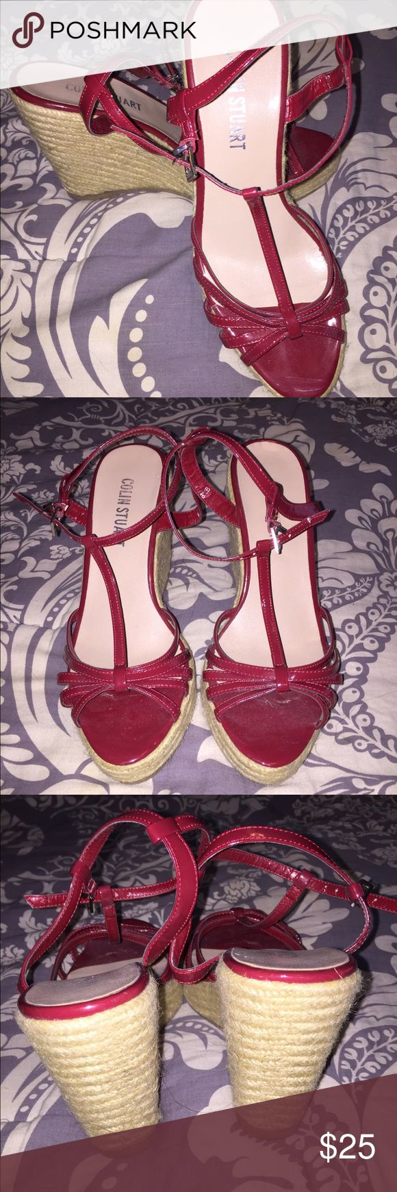 Fun summer wedges! These are gorgeous cranberry red wedges worn twice! The heel is about 3 inches. Bought from Victoria's Secret website. Colin Stuart Shoes Wedges