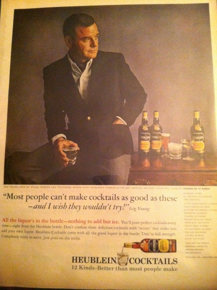 Original Magazine Print Ad of GIG YOUNG for Heublein Cocktails